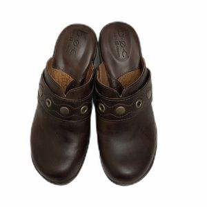 B.O.C. Brown Leather Slide On Mule Clogs